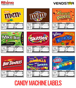 9 Candy Vending Machine Stickers Labels Nutrition Info 2 5 X 2 5