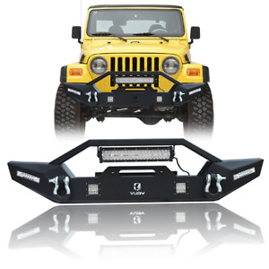 Vijay New Front Bumper W Winch Plate Led Lights For 1997 2006 Jeep Wrangler Tj