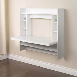Floating Wall Mounted Computer Desk With Storage Shelves White Home Office Table