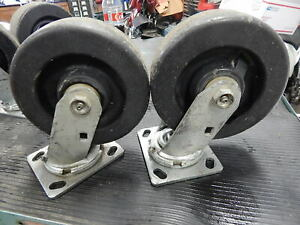 Two Casters 6 X 2 Heavy Duty Rubber Wheels Swivel Casters Used Greasable