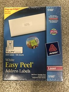 Box Of 3000 Avery 5160 Address Mailing Labels 1 X 2 5 8