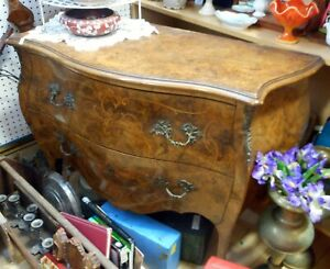 Antique Gorgeous Handmade Inlay Bombe Walnut Dresser