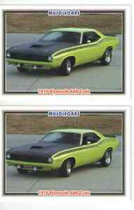 1970 Plymouth Aar Cuda Baseball Card Sized Cards Must See Lot Of 2