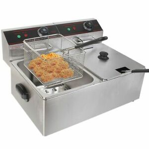 5000w Electric Countertop Deep Fryer Dual Tank Commercial Restaurant Steel New