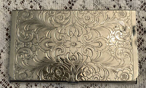 Vintage Silver Tone Beautifully Engraved Business Card Case Holder