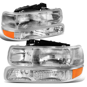 For 1999 2006 Silverado Suburban Tahoe 4pcs Chrome Clear Headlights Bumper Lamps