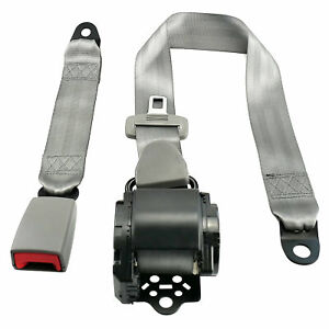 Auto Vehicle Truck Adjustable Retractable Gray 3 Point Safety Seat Belt Straps