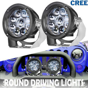 Pair 5 Round Cree Led Driving Lights Hyper Spot Off Road Work Headlight Atv 4wd