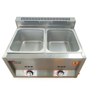 2 X 6l Food Warmer Commercial Gas Bain Buffet Countertop Stainless Steel