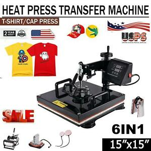 6 In 1 Heat Press Machine For T shirts 15 x15 Combo Kit Sublimation Swing Away