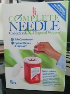 Complete Needle Collection Disposal System Biohazard Sharps Container New