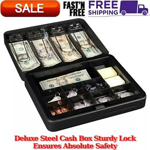 Deluxe Steel Cash Box Sturdy Lock Ensures Absolute Safety 1 Bill 8 Coin Slots