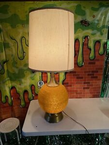 Vintage Spaghetti Table Lamp Orange Spun Plastic Retro Mid Century Modern