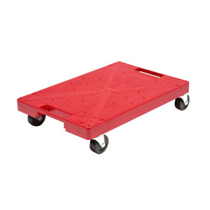 Multi purpose Red Garage Dolly Furniture Moving Flat Plastic Rolling Dollie Cart