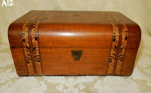 Antique Dome Topped Walnut Veneered Tunbridge Banded Work Sewing Box