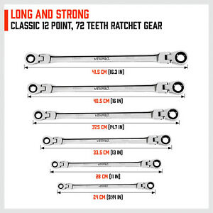 Double Box End Ratcheting Wrench Flex Head Extra Long 6 Pc Spanner Set Metric