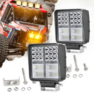 2x 5 Led Driving Lights Bar Round Square Spot Flood Drl Work Pods Off Road Atv