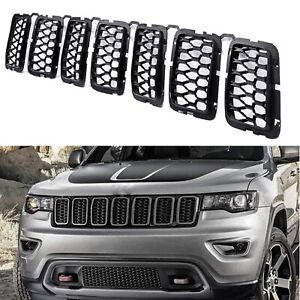 For 2017 20 Jeep Grand Cherokee Matte Black Front Grille Mesh Honeycomb Inserts