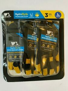 Wells Lamont Hydra Hyde Leather Work Glove Goatskin Palm Large 3 Pack Hydrahyde