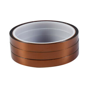 3 Rolls 33m 100ft x10mm High Temperature Heat Resistant Kapton Polyimide Tape