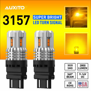 2x Auxito 3157 Led Amber Yellow Turn Signal Parking Drl High Power Light Bulbs