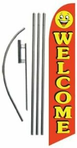 Welcome red smiley 15ft Feather Banner Swooper Flag Kit Includes 15ft