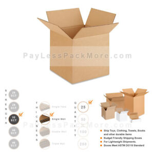 10x10x10 25pc 32 Ect Strong Corrugated Cardboard Shipping Mailing Carton Boxes