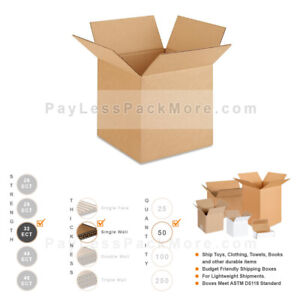 10x10x10 50pc 32 Ect Strong Corrugated Cardboard Shipping Mailing Carton Boxes