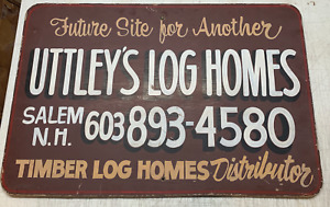 Vintage Uttley s Log Cabin Homes New Hampshire White Mountains Painted Sign
