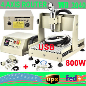 800w 4 Axis Cnc 3040t Engraving Milling Machine 3d Engraver Drilling Usb Router