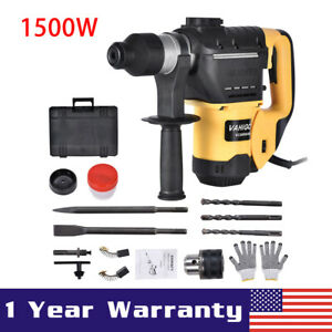 1500w 1 1 2 Sds Electric Rotary Hammer Drill Plus Demolition Chisel Bits W case