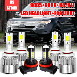 For Ford Explorer 2011 2012 2013 2014 2015 Led Headlight Fog Light Bulbs Combo