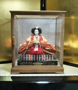 Vintage Japanese Hina Doll In Glass Case Kimono Royal Family Queen Figure