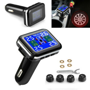 Car Tpms Wireless Tire Pressure Monitoring System Lcd With 4 External Sensors