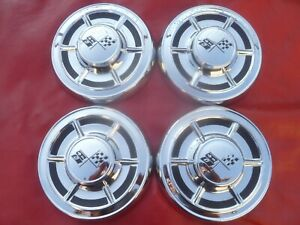 Vintage Nos 1960 Chevy Corvette Big Brake Dog Dish Poverty Hubcaps Wheel Covers