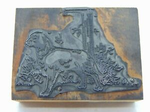 Printing Letterpress Printers Block Dog By A Tree