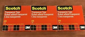 Lot Of 3 Scotch 3m 600 Transparent Tape 1 2in X 2592in 72yd New Sealed