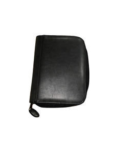 Black Zippered Faux Leather Day Timer Planner Binder Organizer