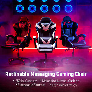 Ergonomic Computer Game Gaming Chair W Massage Extendable Footrest For Adults