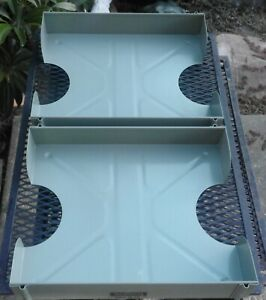 Vintage Green ish Metal Steel Lit ning Industrial In Out Box Desk Tray Mailbox