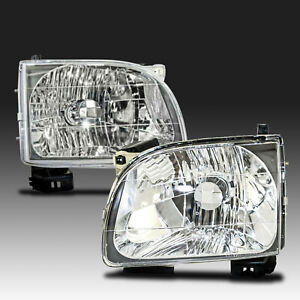 New Set Of 2 Lh Rh Headlights Assembly Clear Lens For Toyota Tacoma 2001 2004