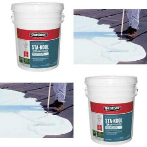 5 Gal Elastomeric White Reflective Roof Coating Rv Rubber Metal Mobile Sealant
