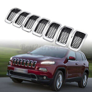 Replacement Grille Inserts Covers Fit For Jeep Cherokee Chrome Black 2014 2018