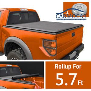 Roll Up Tonneau Cover 5 7 Short Bed W Led Light For 04 15 Nissan Titan Vinyl