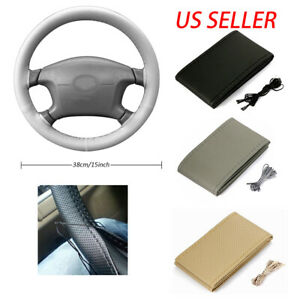 Diy Car Truck Leather Steering Wheel Cover With Needles And Thread Tricolor