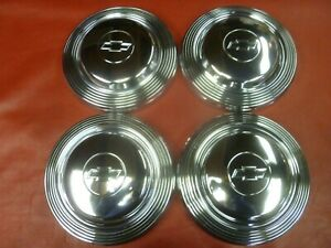Vintage Nos 1965 Chevy 427 Impala Belair Dog Dish Poverty Hubcaps Wheel Covers