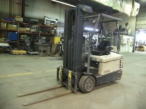 2003 Crown Sc4040 4 000 4000 Cushion Tired 36v Electric Forklift 3 Stg Ss