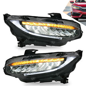 Led Sequential Headlight Projector Left Right Pair For Honda Civic 2016 2019