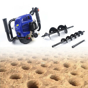 2 Stroke Earth Auger Heavy Duty Post Hole Digger With 4 8 Bit Extension Bar