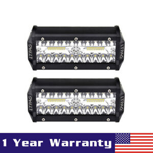 2x 7 240w Cree Led Work Light Bar Flood Combo Pods Driving Off Road Tractor 4wd